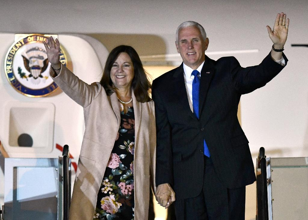US Vice President Mike Pence and his wife Karen, seen here in November 2018 on a visit to Tokyo, are powerful proponents of religious conservatism in America (AFP Photo/Kazuhiro NOGI)