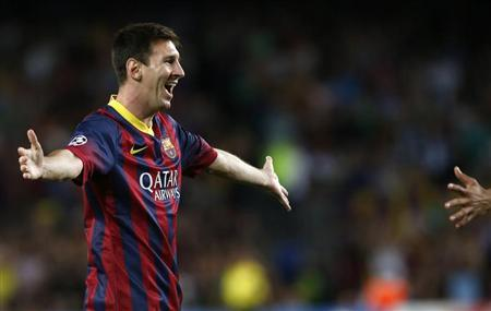 Barcelona's Messi celebrates scoring a goal against Ajax during their Champions League soccer match at Camp Nou stadium in Barcelona