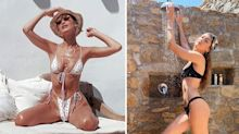Supermodel sisters Bella and Gigi Hadid make a case for the thong bikini trend on holiday