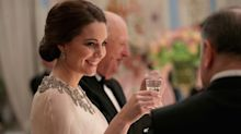 The Duchess of Cambridge sparkles in an Alexander McQueen cape gown for official dinner