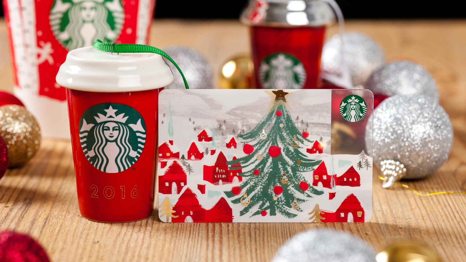 Starbucks Card Christmas Tree House New