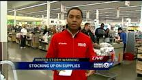 Shoppers stock up ahead of winter storm