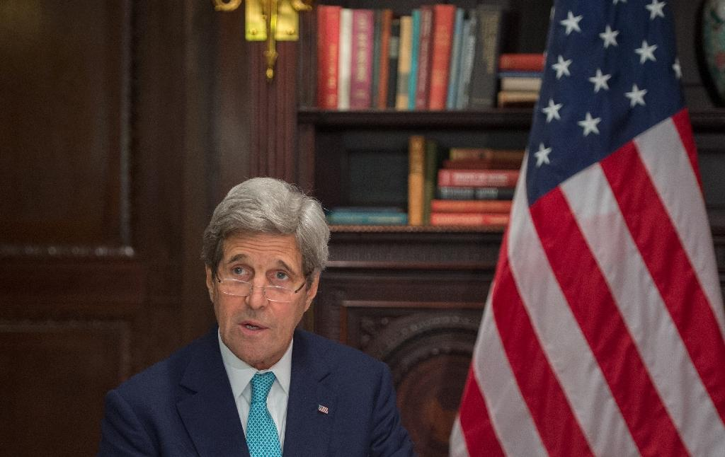 US Secretary of State John Kerry speaks on April 22, 2016 in New York (AFP Photo/Bryan R. Smith)