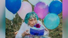Tutu-wearing grandma celebrates 98th birthday with confetti- and cake-filled photo shoot