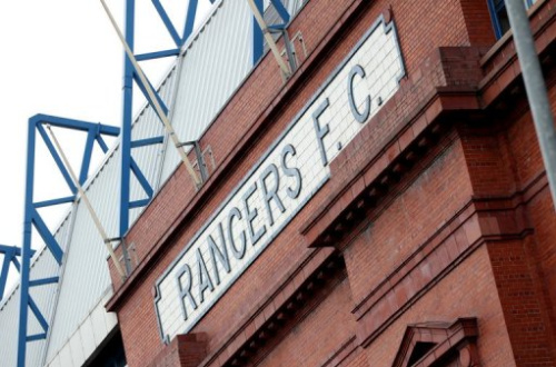 Fachada de la sede del club de fútbol Rangers de Glasgow, Escocia