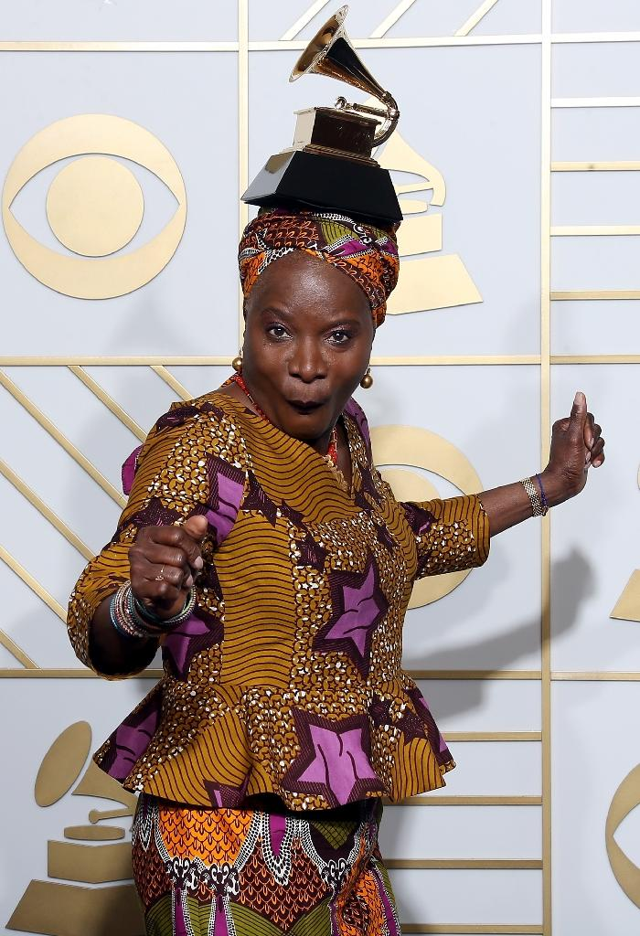 """This is the second straight year that Kidjo has won the Best World Music Album prize, after last year's """"Eve"""" that paid tribute to African women (AFP Photo/Frederick M. Brown)"""