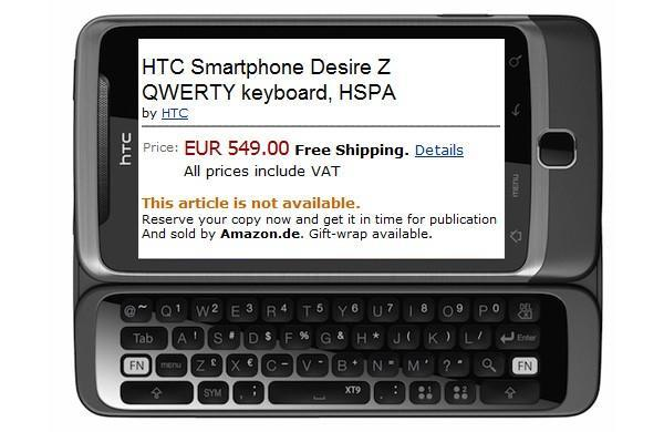 HTC Desire Z priced at €549 by Amazon.de, £430 by Play.com