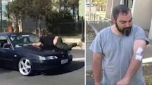 Moment man is forced to cling to bonnet of speeding car