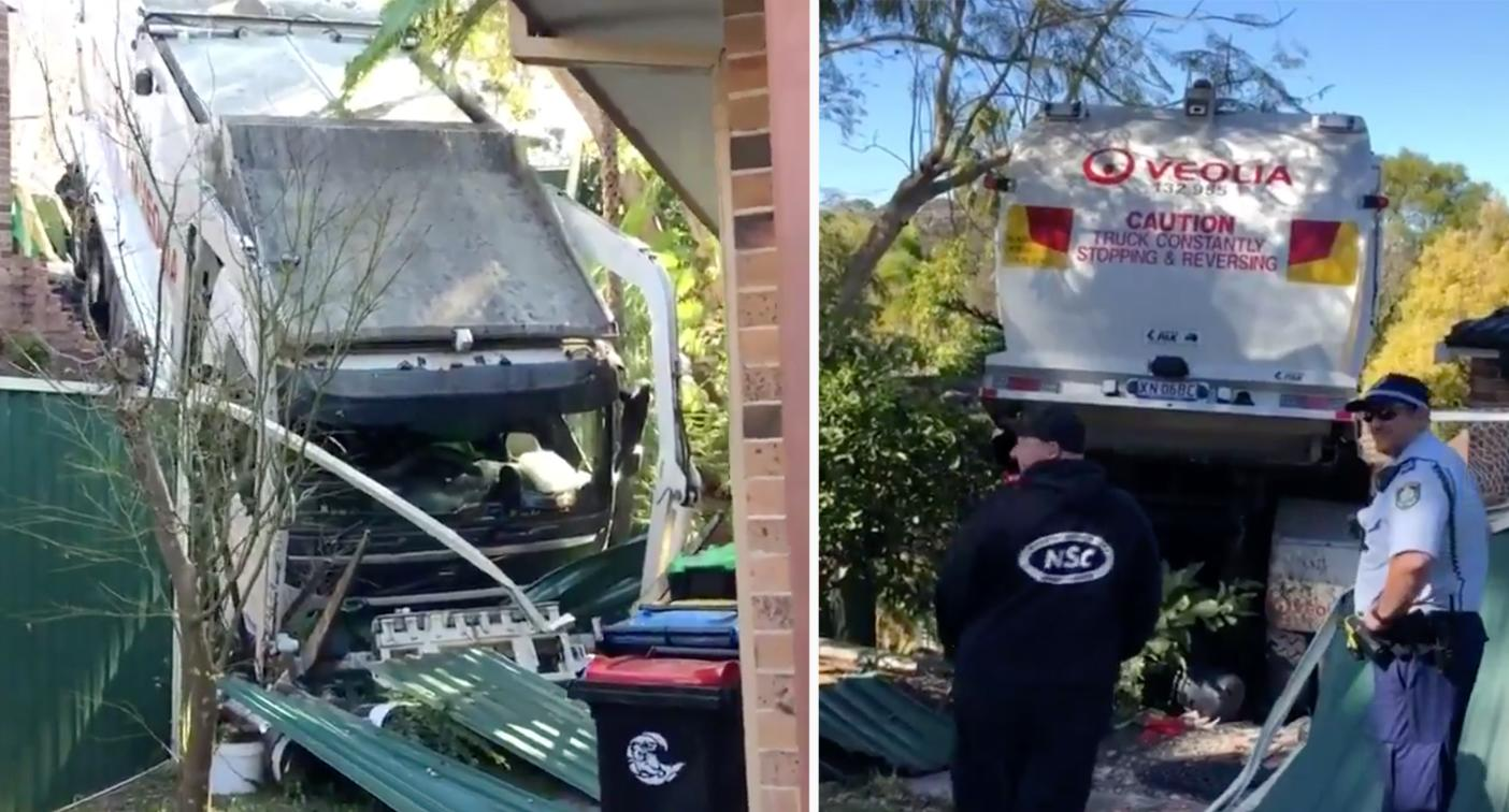Out-of-control garbage truck smashes into Sydney family's house