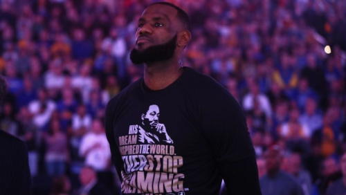 LeBron James wears a shirt honoring Dr. Martin Luther King Jr. during a game against the Warriors earlier this season. (Getty Images)