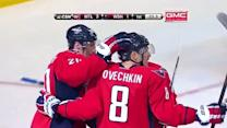 Alex Ovechkin scores from a sharp angle