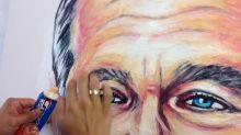 Artist's unique method uses toothpaste to create portraits
