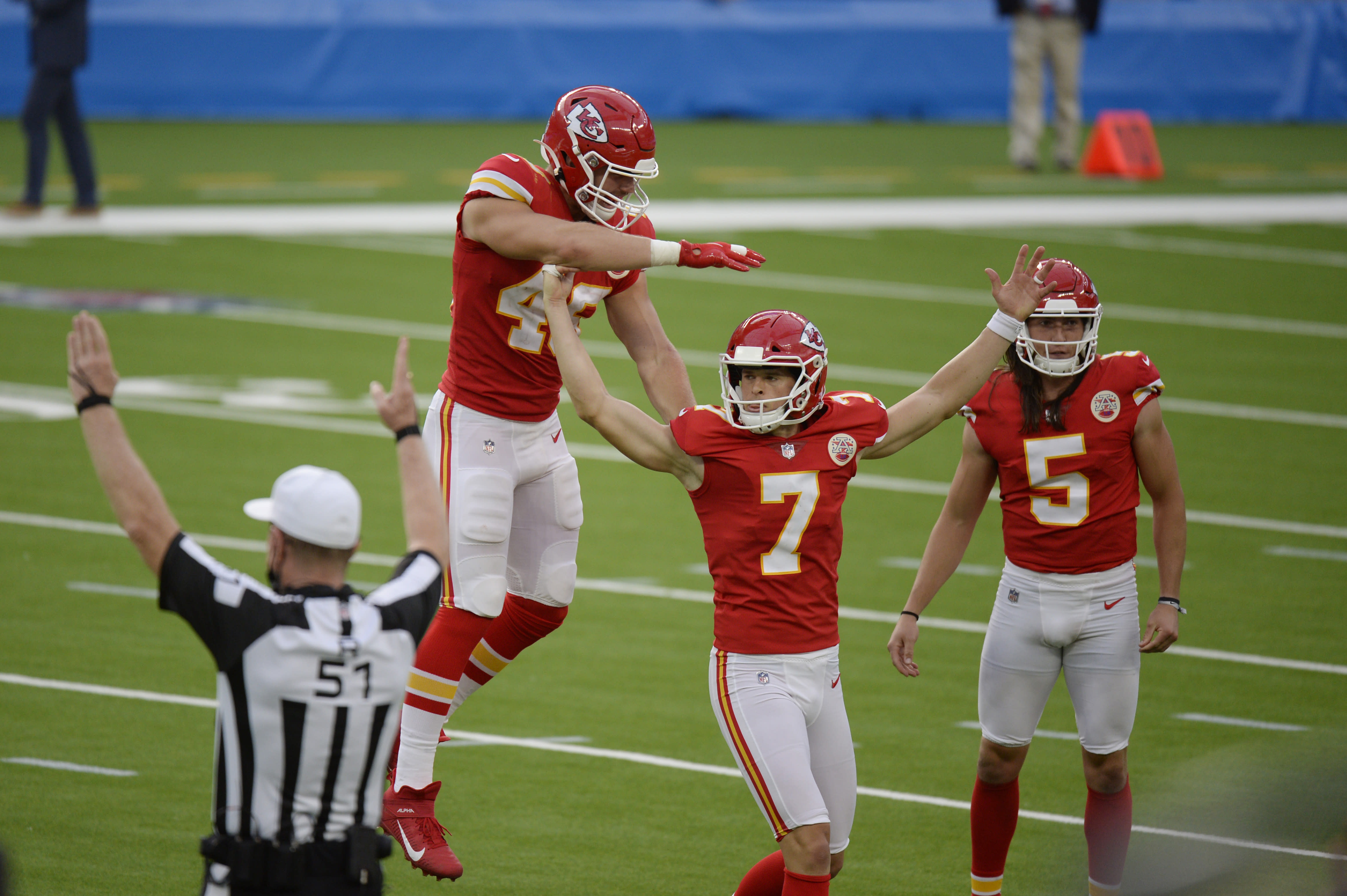 Kansas City Chiefs kicker Harrison Butker (7) celebrates after making the game-winning field goal during overtime of an NFL football game against the Los Angeles Chargers Sunday, Sept. 20, 2020, in Inglewood, Calif. Kansas City won 23-20. (AP Photo/Kyusung Gong)