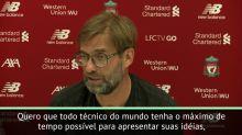 """FUTEBOL: Premier League: Klopp sobre Solskjaer no United: """"Que tenha tempo de apresentar suas ideias"""""""
