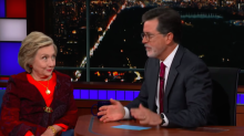 Hillary Clinton Tells Stephen Colbert 'Our Democracy Is in Crisis' (Video)