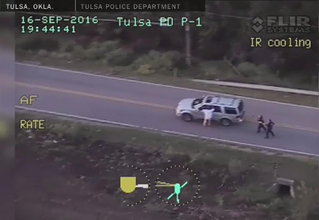This image from video, provided September 20, 2016 by the Tulsa Police Department in Oklahoma, shows the officer involved shooting of Terence Crutcher
