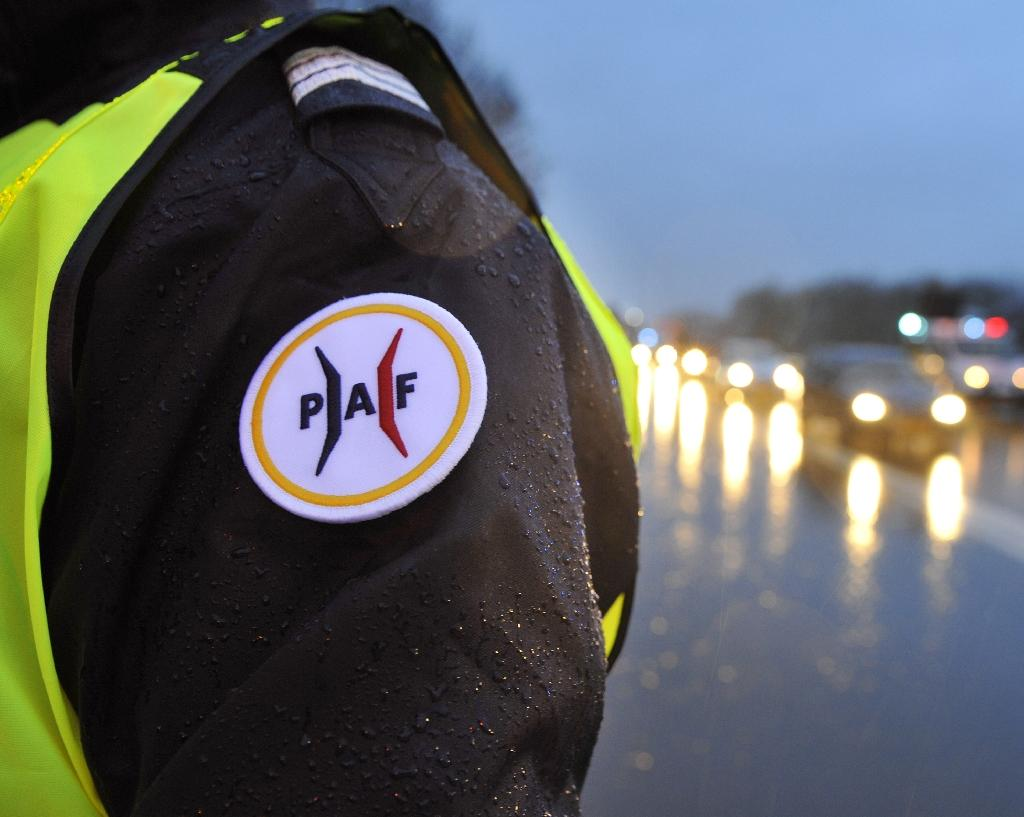 A November 19, 2015 photo shows the emblem of the French border police at a traffic control point on the A31 motorway (AFP Photo/Jean-Christophe Verhaegen)