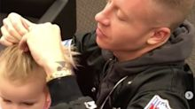 Macklemore does his daughter's hair in an adorable topknot, fellow fathers give him props