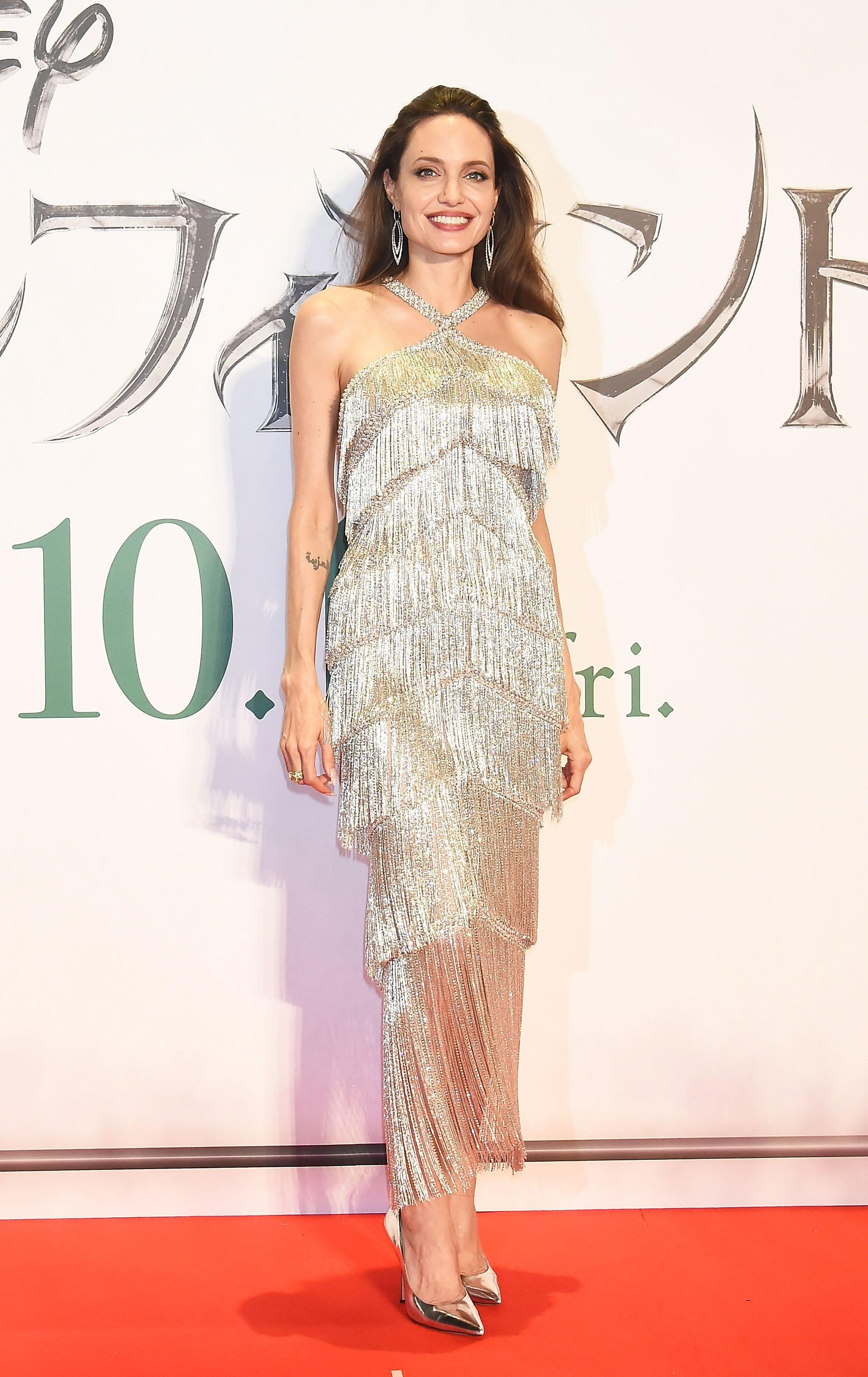 Angelina Jolie S Sexy Fringed Gown Is Most Definitely Made