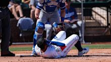Rangers outfielder Willie Calhoun hit in face by pitch