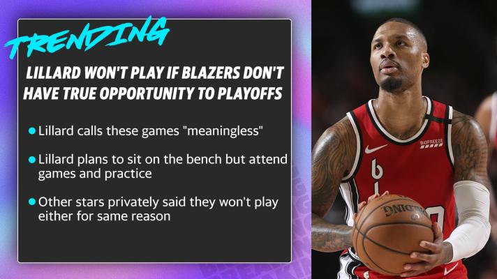 Lillard won't play if Blazers don't have true opportunity to playoffs