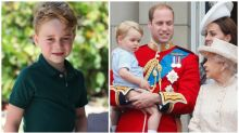 The Queen leaves gifts at the foot of Prince George's bed