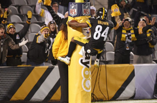 Antonio Brown is happy he can celebrate without being fined. (AP)