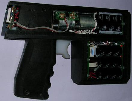 Gauss' GP-219 electromagnetic pistol fires steel projectiles silently