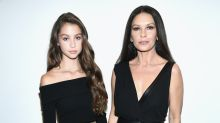 Catherine Zeta-Jones twins with her 14-year-old daughter at Michael Kors