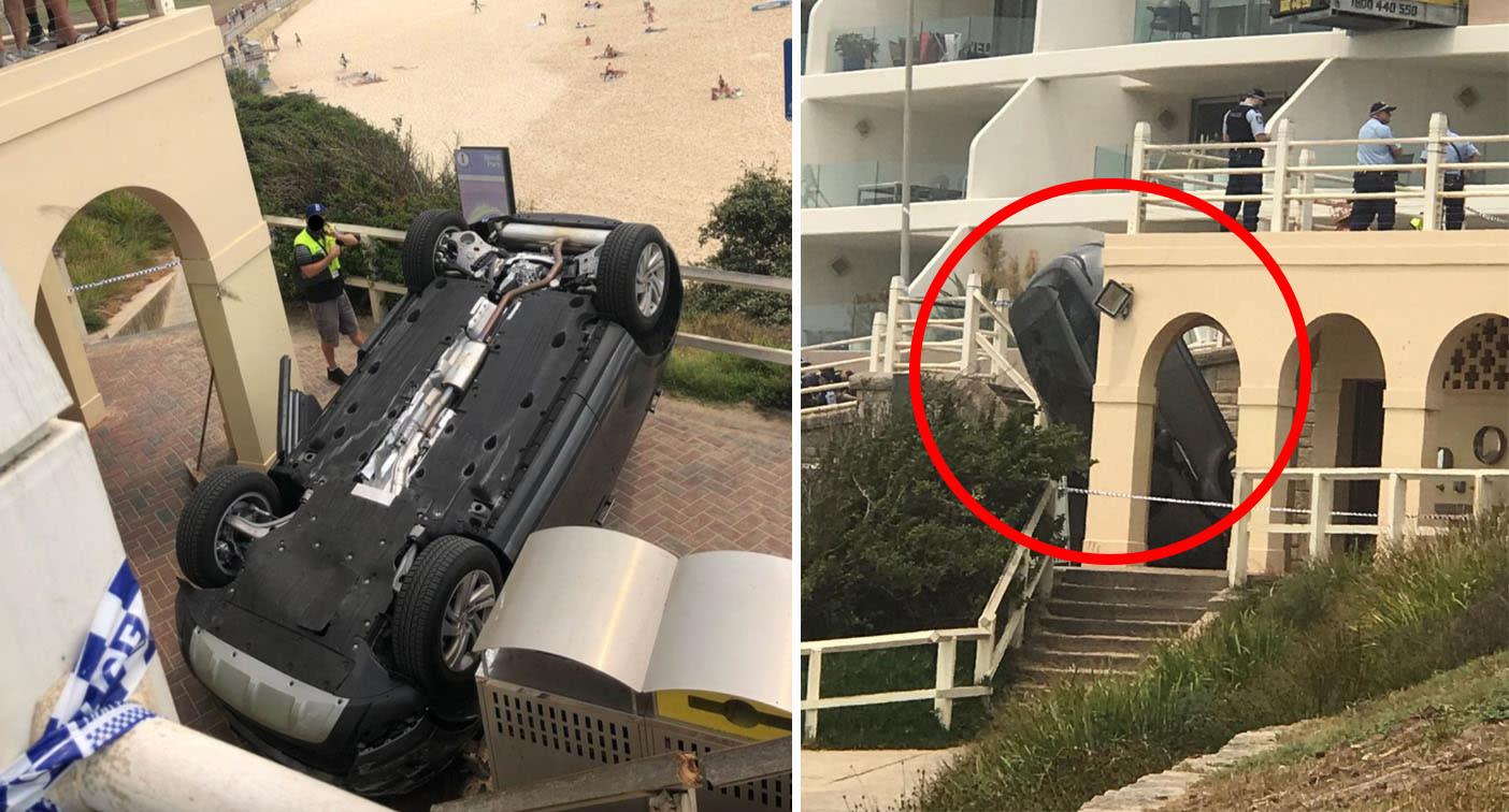 Car crashes through barriers onto busy Bondi Beach lookout