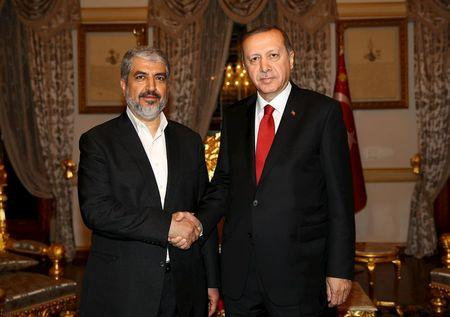 Turkish President Erdogan meets with Hamas leader Meshaal in Istanbul, Turkey