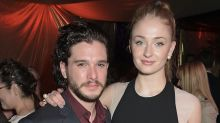 "We're weirdly obsessed with watching Kit Harington cry—while Sophie Turner laughs at him—in this BTS ""GoT"" footage"