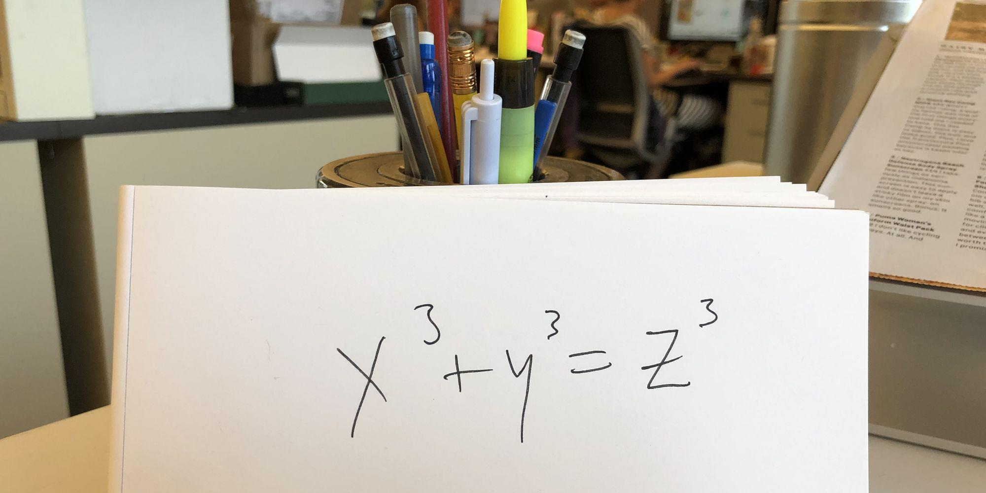 "<p>Earlier this week, a <a href=""https://www.popularmechanics.com/science/math/a28943849/unsolvable-math-problem/"" rel=""nofollow noopener"" target=""_blank"" data-ylk=""slk:math puzzle"" class=""link rapid-noclick-resp"">math puzzle</a> that had stumped mathematicians for decades was finally solved. It's called a Diophantine Equation, and it's sometimes known as the ""summing of three cubes"": Find x, y, and z such that x³+y³+z³=k, for each k from 1 to 100.</p><p>On the surface, it seems easy. Can you think of the integers for x, y, and z so that x³+y³+z³=8? Sure. One answer is x = 1, y = -1, and z = 2. But what about the integers for x, y, and z so that x³+y³+z³=42? </p><p>That turned out to be much harder—as in, no one was able to solve for those integers for 65 years until a supercomputer finally came up with the solution to 42. (For the record: x = -80538738812075974, y = 80435758145817515, and z = 12602123297335631. Obviously.)</p><p>That's the beauty of math: There's always an answer for everything, even if takes years, decades, or even centuries to find it. So here are nine more brutally difficult <a href=""https://www.popularmechanics.com/science/math/a28569610/viral-math-problem-2019-solved/"" rel=""nofollow noopener"" target=""_blank"" data-ylk=""slk:math problem"" class=""link rapid-noclick-resp"">math problem</a>s that once seemed impossible until mathematicians found a breakthrough.</p>"