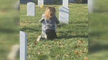Son of deceased Army staff sergeant hugs his gravestone in touching photo