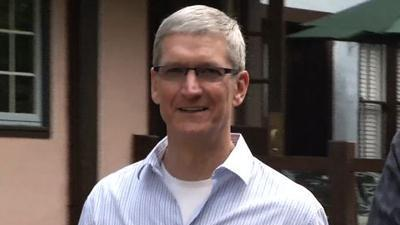 Tim Cook arrives at Sun Valley conference