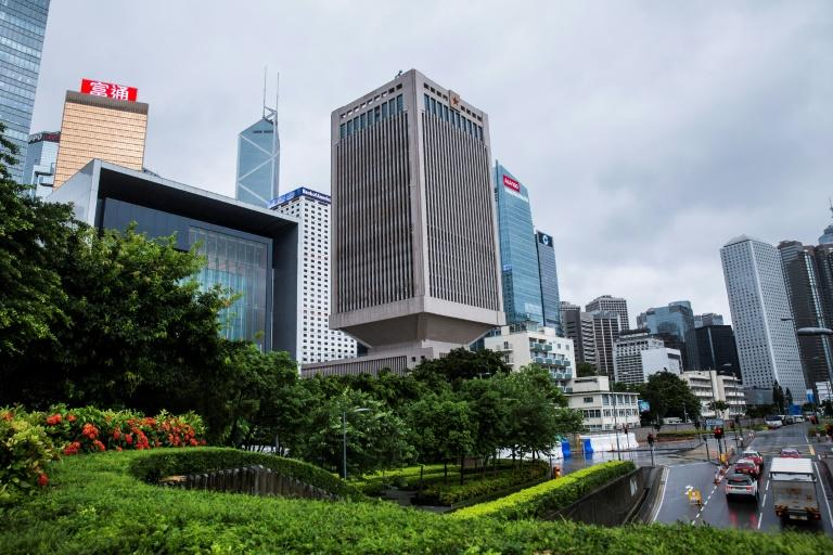 This general view shows the PLA Forces Hong Kong Building