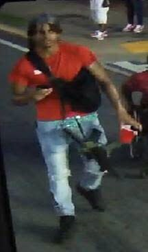 An image from video released by the Atlanta Police Department shows a person of interest in the shooting death of 8-year-old Secoriea Turner. She was fatally shot while riding in a car with her mother and another adult on July 4, 2020. Police are searching for at least two shooters believed to be responsible for her death.(Atlanta Police Department via AP)