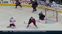 Bobrovsky robs McMillan with blind toe save