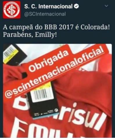 Põe no BBB! Inter parabeniza vencedora via Twitter, mas deboches fazem postagem ser apagada
