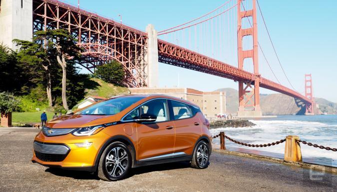 Chevy Bolt EV near Golden Gate Bridge