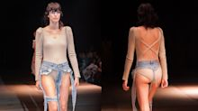 Will Kendall Jenner dare to wear these barely-there ankle strap jeans?