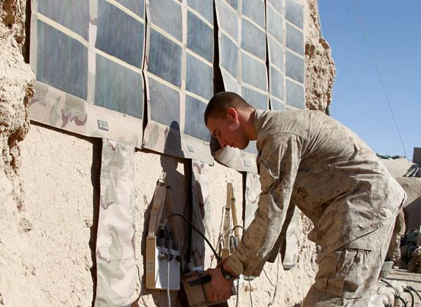 Marines field test solar panels by day, watch Gomer Pyle by night