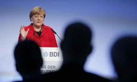 German Chancellor Angela Merkel makes her speech at the Federation of German Industry (BDI) conference in Berlin, Germany, November 3, 2015. REUTERS/Fabrizio Bensch