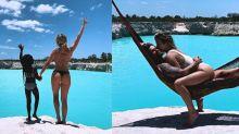 """Famosas """"invejam"""" bumbum de Giovanna Ewbank em foto com Gagliasso"""