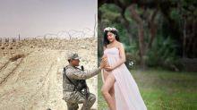 Através da tecnologia, ensaio fotográfico une mulher grávida ao marido em missão militar