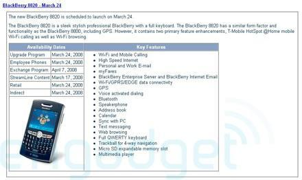 T-Mobile's BlackBerry 8820 appears to be back on: March 24's the date