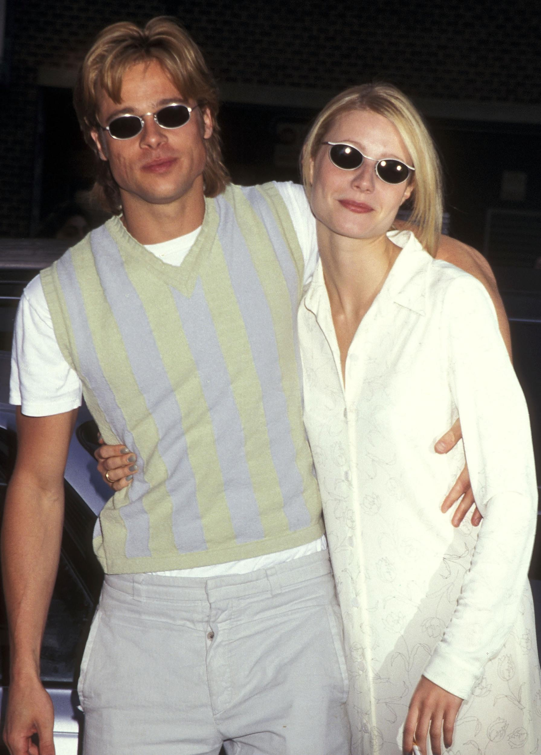 Actor Brad Pitt and actress Gwyneth Paltrow attend 'The Pallbearer' New York City Premiere on April 28, 1996 at the Tribeca Film Center in New York City. (Photo by Ron Galella, Ltd./WireImage)