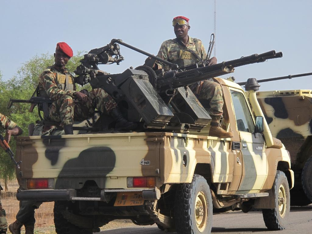 A convoy of Cameroon's soldiers patrolling Dabanga, northern Cameroon, an area repeatedly attacked by Nigerian Islamist group Boko Haram