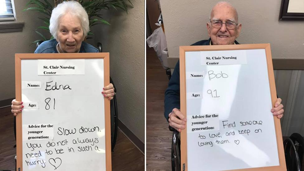 'Keep on loving': Sweet photos show elderly people holding up advice for youngsters