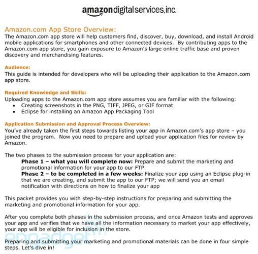 Amazon sends 'welcome packet' to prospective app store devs